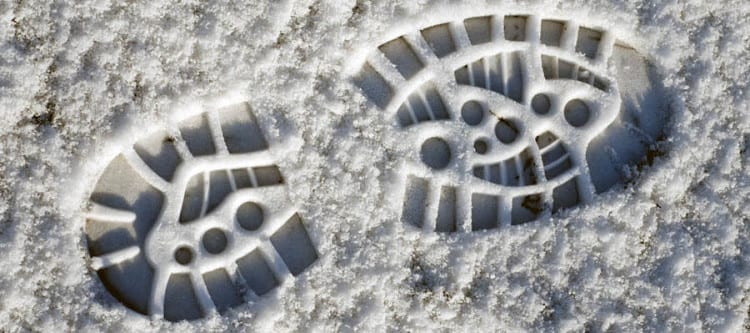 footstep in the snow