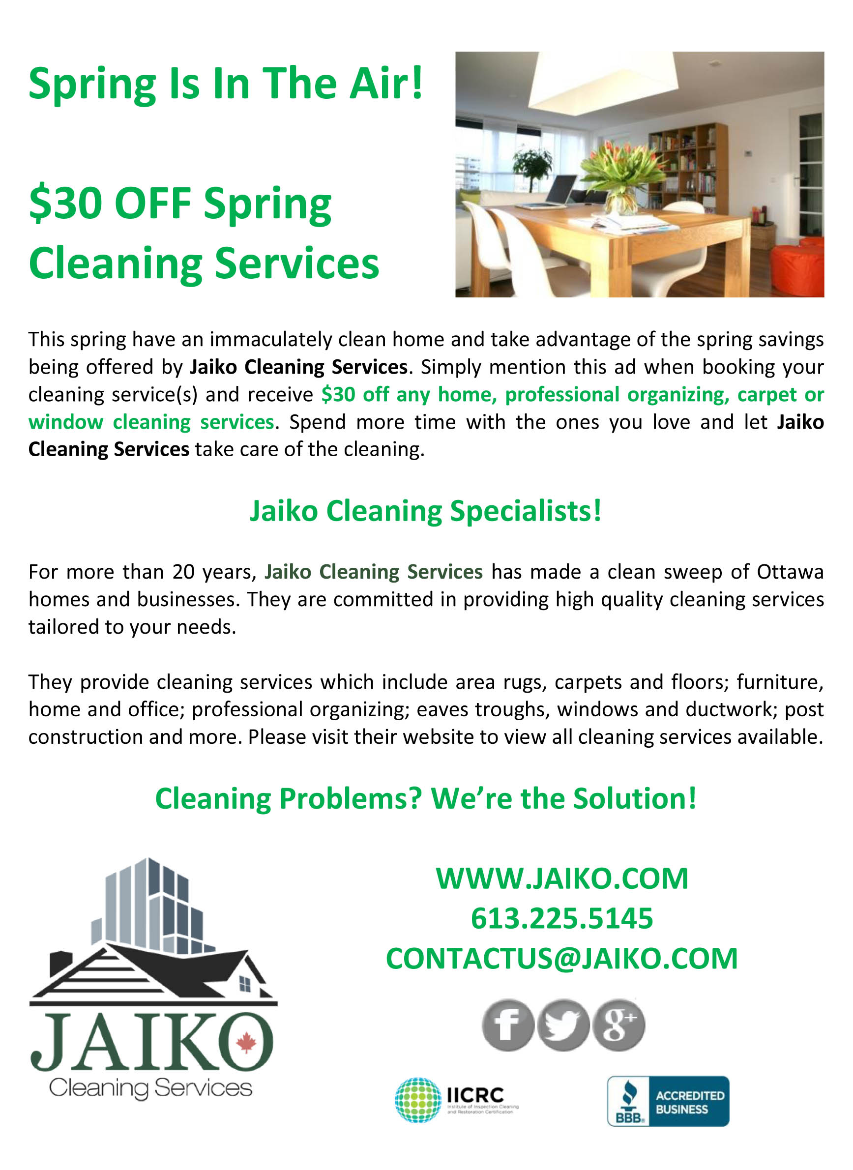 Spring cleaning special $30 OFF home, professional organizing, carpet or window cleaning services.