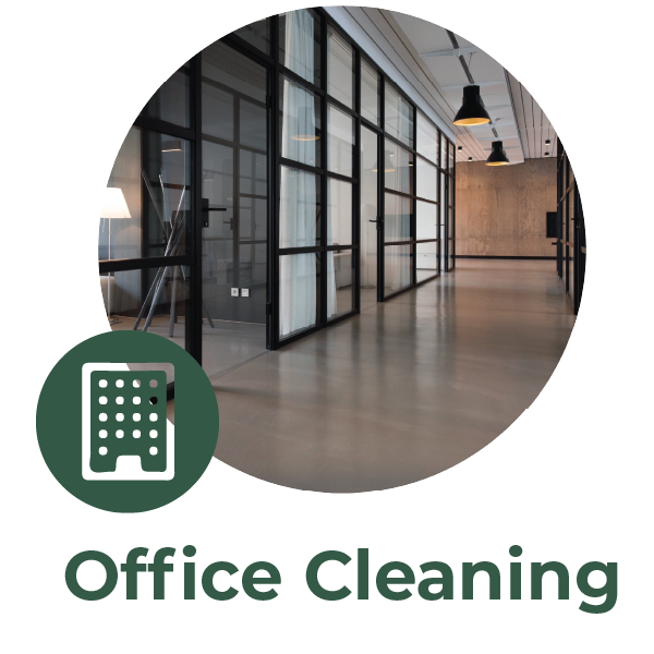 Circular image of an office hallway with a small green sky scraper icon alongside