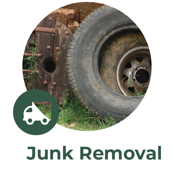 Circular image of an old worn out tire with a small green truck icon alongside