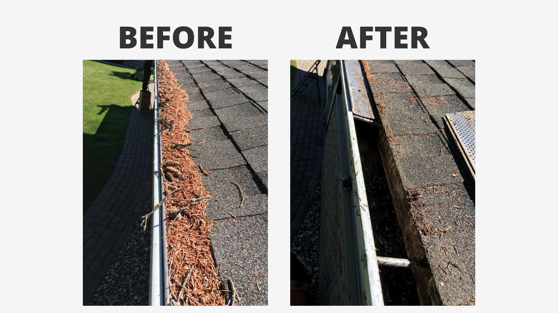 two images of a gutter before and after being cleaned